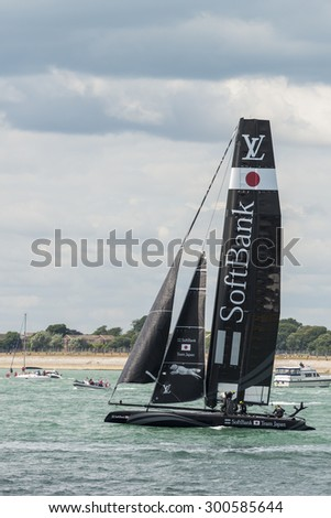 PORTSMOUTH, UK - JULY 25: The Japanese Softbank America\'s Cup boat sailing in the America\'s Cup World Series qualifiers in Portsmouth shown on July 25, 2015 in Portsmouth, UK