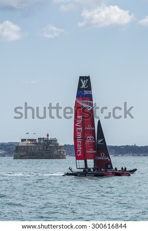 PORTSMOUTH, UK - JULY 25: The New Zealand Team Emirates America\'s Cup boat sailing in the America\'s Cup World Series qualifiers in Portsmouth shown on July 25, 2015 in Portsmouth, UK