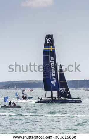 PORTSMOUTH, UK - JULY 25: The Swedish Team Artemis America\'s Cup boat sailing in the America\'s Cup World Series qualifiers in Portsmouth shown on July 25, 2015 in Portsmouth, UK