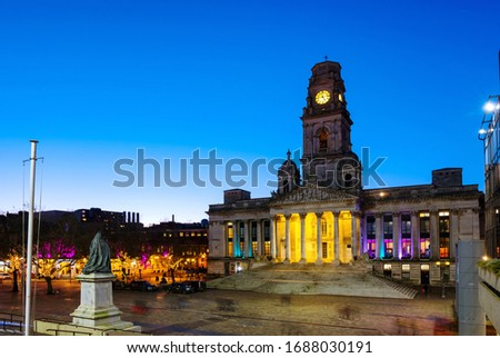 Portsmouth, UK. View of Guildhall in Portsmouth, UK at night. Clear dark sky, popular landmark in the city
