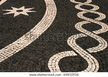 Portugal Azores Islands Sao Miguel typical black and white mosaic pavement in the historic center of the  capital Ponta Delgada