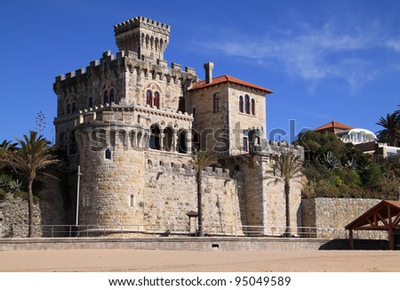 """Portugal, Cascais, Estoril on Lisbon's Sunshine coast - Historical fortified """"Baronial"""" mansion overlooking the beach"""