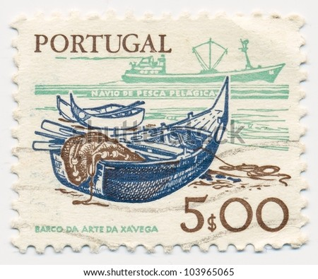 PORTUGAL - CIRCA 1978: A stamp printed in Polrtugal, shows Boat fisherman and a network, circa 1978