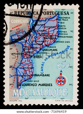 PORTUGAL - CIRCA 1959: A stamp printed in Portugal showing map of Mozambique, circa 1959
