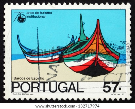 PORTUGAL - CIRCA 1987: a stamp printed in the Portugal shows Boats, Espinho, 75th Anniversary of National Tourism Organization, circa 1987