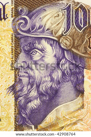 PORTUGAL - CIRCA 2000: Pedro Alvares Cabral on 1000 Escudos 2000 Banknote from Portugal. Navigator and explorer. First Portuguese to set foot on Brazil.
