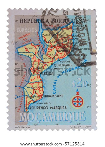 PORTUGAL - CIRCA 1980s: A stamp printed in Portugal showing map of Mozambique, circa 1980s