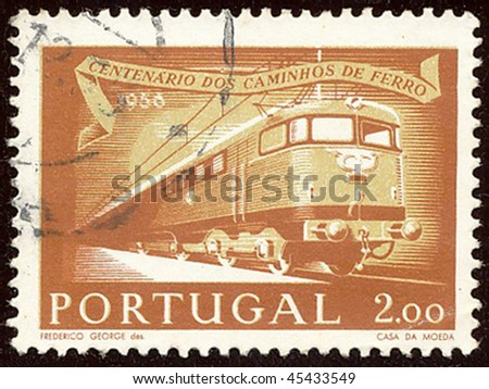 PORTUGAL - CIRCA 1956: Stamp to commemorate the centenary of the Railway, circa 1956