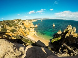 Portugal coast, view of beach and rocks.