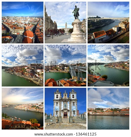 Portugal. Douro river and most famous places in Porto