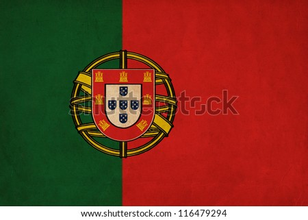 Portugal  flag drawing ,grunge and retro flag series