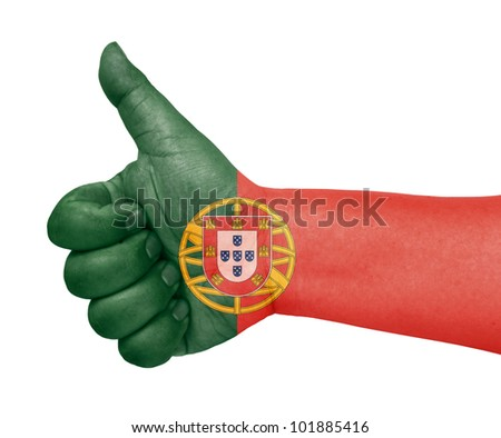 Portugal flag on thumb up gesture like icon