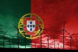 Portugal flag wind farm at sunset, sustainable development, renewable energy Wind Turbines