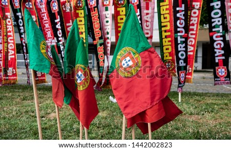 Portugal Flags and Scarfs from Street Vendors