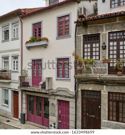 Portugal. Guimaraes. Facades of houses on Dom Joao IV street leading to the train station
