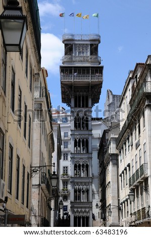 Portugal, lift of Santa Justa in Lisbon - stock photo