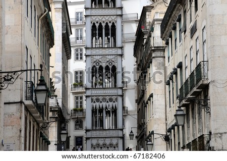 Portugal, lift of Santa Justa in Lisbon