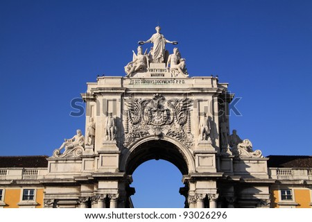 "Portugal Lisbon Arch detail ""Praca de Commercio"" or Terreiro do Paco"" ""Commerce Square"" downtown"