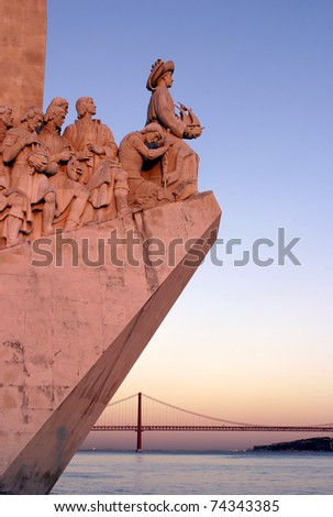 "Portugal Lisbon Belem District ""Monument to the Portuguese voyages of Discovery""  ""Padrao dos Descobrimentos"" at Dusk over the River Tagus River"