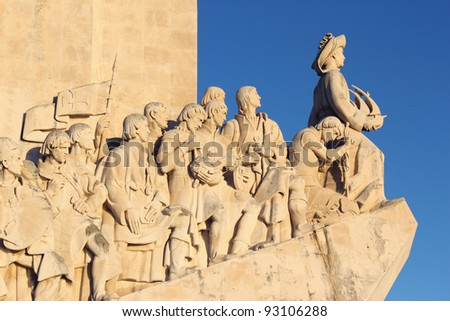 """Portugal Lisbon Belem District """"Monument to the Portuguese voyages of Discovery"""" """"Padrao dos Descobrimentos"""" - Detail of Prince """"Henry the Navigator"""" and court"""