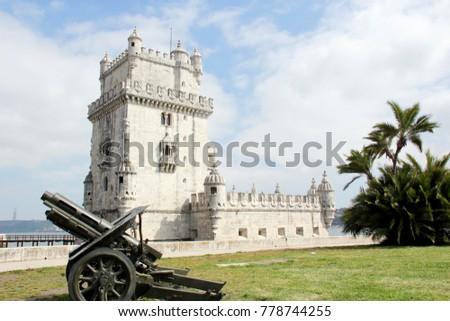 Portugal, Lisbon, Circa April 2014. Tower of Belem, Torre de Belem situated in Lisbon, Portugal. Picture taken April 2014 #778744255