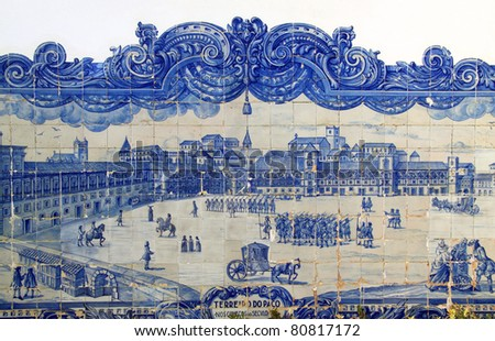 "Portugal Lisbon Important historical blue and white ceramic ""Azulejo"" tiles depicting ""Terreiro de Paco"""