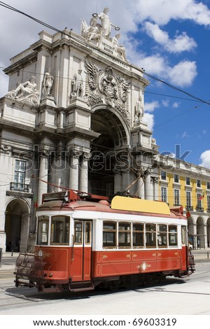 Portugal / Lisbon - Old touristic tramway at the Comercio Square in Lisbon - stock photo