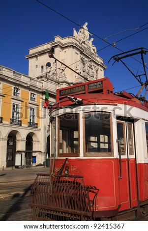 "Portugal Lisbon Typical old electric tram in ""Praca de Commercio"" or Terreiro do Paco"" ""Commerce Square"" downtown"