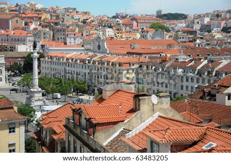 Portugal, Lisbon view from the lift of Santa Justa