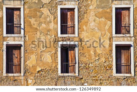 Portugal, Lissbon Windows. Cityscape closeup