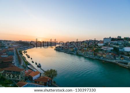 Portugal. Porto city. View of Douro river at Sundawn