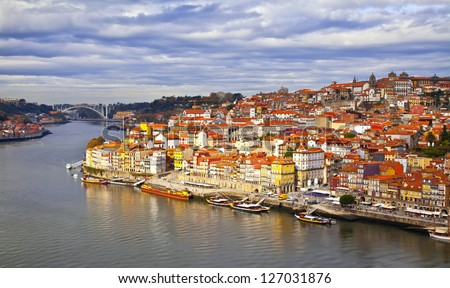 Portugal. Porto city. View of Douro river embankment