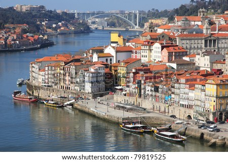 Portugal. Porto city. View of Douro river embankment in the morning