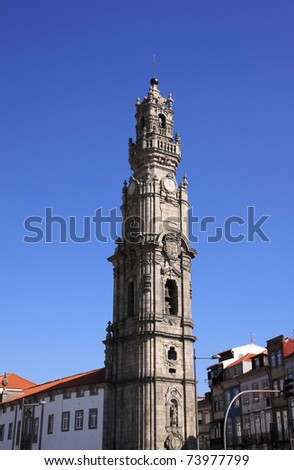 "Portugal Porto historical center - Unesco  World Heritage Site - ""Torre dos Clerigos"" - ""The Clergy Tower"" a symbol of the city built in baroque style"