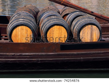 "Portugal Porto Port wine barrels on ""rebelo"" boat River Douro"
