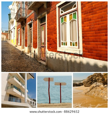 Portugal. Portuguese Atlantic coast. Beach, rocks, ocean, hotels and small towns.