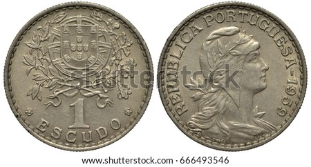 Shutterstock Portugal Portuguese coin 1 one escudo 1959, coat of arms flanked by olive and oak branches, value below flanked by two rosettes, female head in liberty cap right,