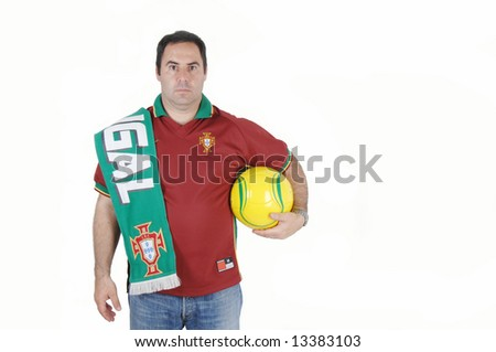 Portugal soccer fan,isolated on white background - stock photo
