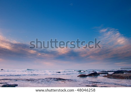 portuguese atlantic coast as viewed in the sunset