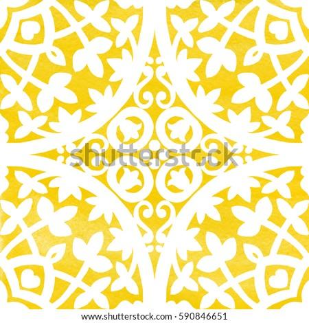 Portuguese azulejo tiles. Watercolor seamless pattern #590846651