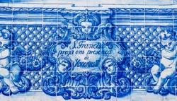 Portuguese blue tiles.Catarina Chapel (or Almas Chapel, Chapel of the Souls)particulars of decoration with the typical Portuguese Blue Tiles (Azulejos).Porto, Portugal.