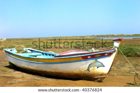 Portuguese boat at Algarve region.