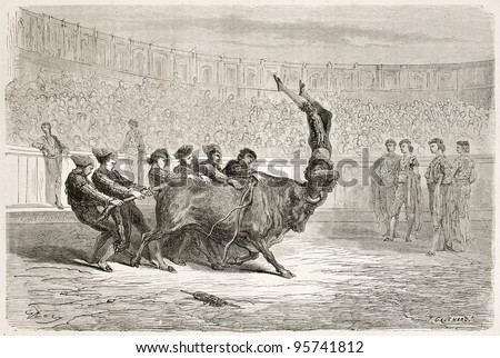 Portuguese bullfighting old illustration. Created by Gustave Dore, published on Le Tour Du Monde, Paris, 1867 bull, bullfighting, ag