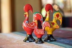 Portuguese ceramics, Barcelos cock, rooster, on a table, Galo de Barcelos