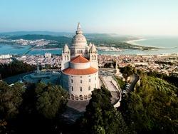Portuguese church from the sky. Viana do Castelo