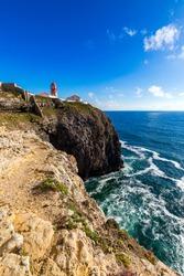 Portuguese coast, cliff into the Atlantic Ocean. Taken in Sagres, Faro, Algarve, Portugal. Beautiful coast of Portugal, Sagres.