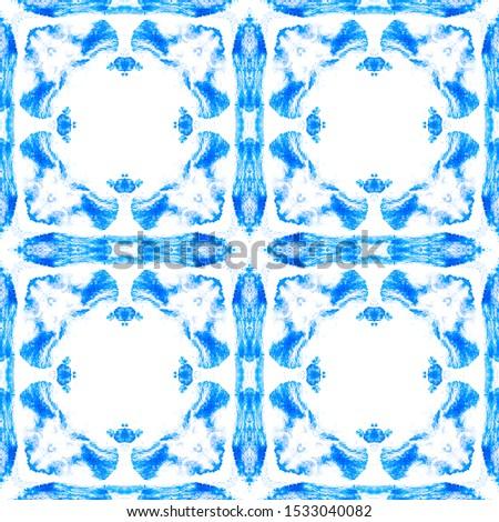Portuguese Decorative Tiles. Italian Motif. Portuguese Decorative Tiles Background. Ikat Oriental Ornate. Ornate Print. Fine Ocean Geometric