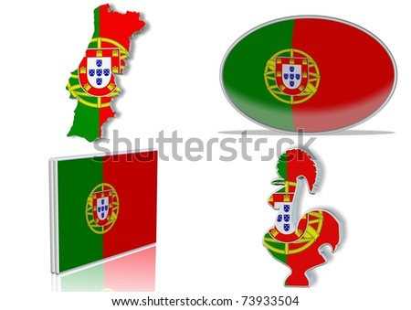 Portuguese flag in 4 different designs, in shape of the country, oval shape, flat on an angle, in a shape of a national symbol / Portugal flag