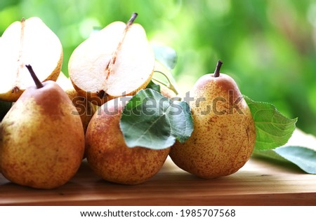 portuguese rocha pears and leaves on table Foto stock ©