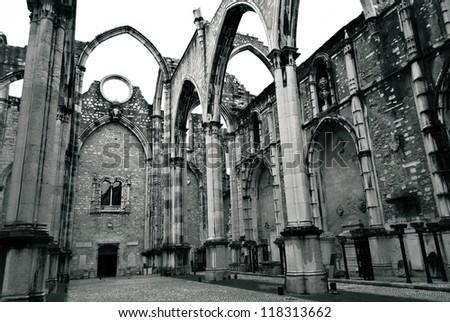 portuguese ruined gothic church ...